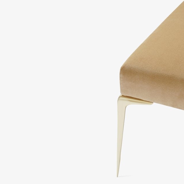 Colette Brass Ottomans in Camel Velvet by Montage, Pair For Sale In New York - Image 6 of 9