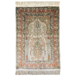 Authentic Turkish Floral Silk Hereke Rug For Sale