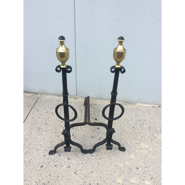 1800s Brass & Iron Andirons - A Pair - Image 5 of 8