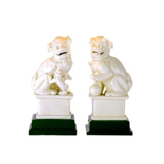 Vintage Style Porcelain Foo Dog Figurines on Wooden Base - a Pair For Sale