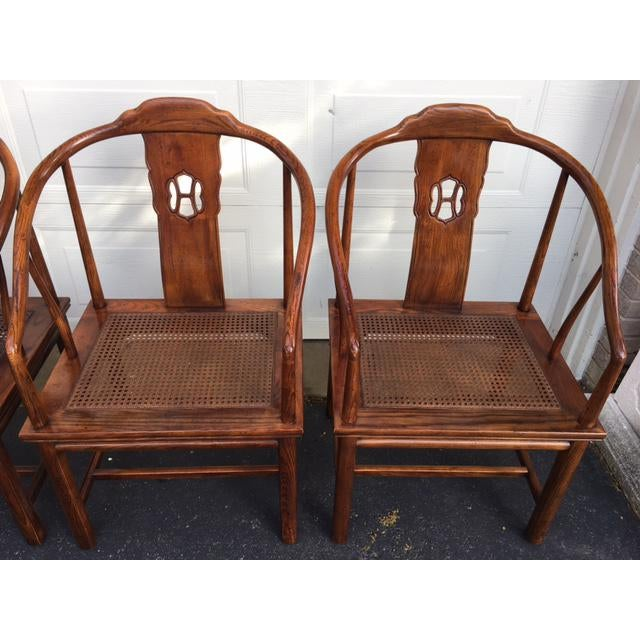 Henredon Henredon Asian Elm Caned Chairs - Set of 4 For Sale - Image 4 of 10