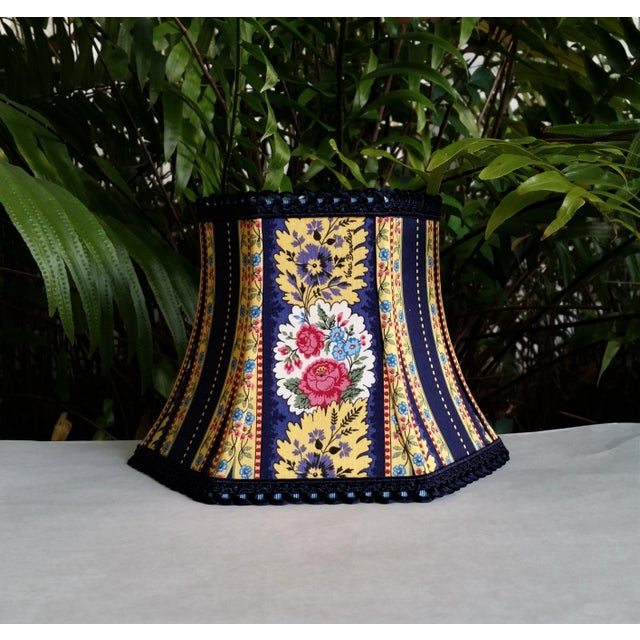 Blue Vera Bradley Fabric Lampshade Hex Bell For Sale - Image 8 of 11