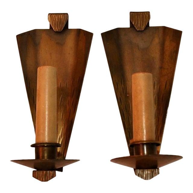 Arts & Crafts Copper Sconces Signed Roycroft - A Pair For Sale