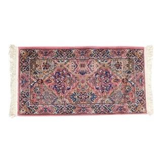 Karastan Kirman Rug #717 4' x 2' Salmon Pink Background Area Throw Rug For Sale