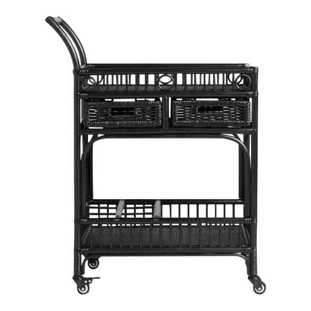 Black Rattan Bar Cart - Image 1 of 4