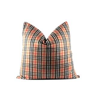 "Nova Check Classic Plaid Pillow 24"" x 24"" For Sale"