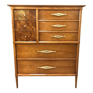 "Mid-Century Tomlinson ""Sophisticate"" 9-Drawer Tall Chest For Sale"