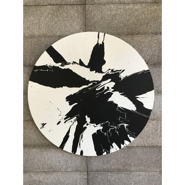 Wood Minimalist Abstract Round Painting For Sale - Image 7 of 7