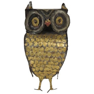 1970s Metal Owl Sculpture by Garfinkle For Sale