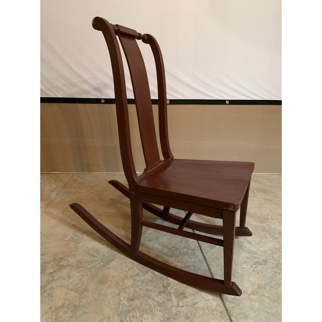Antique Carved Scrolled Splat Back Solid Wood Brown Painted Children's Rocking Chair For Sale - Image 10 of 13