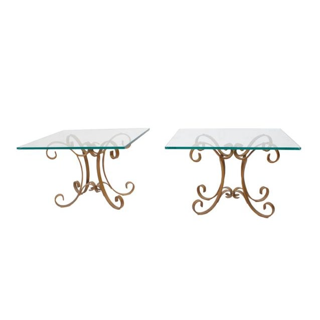 Regency Glass Top Side Accent Tables - A Pair For Sale