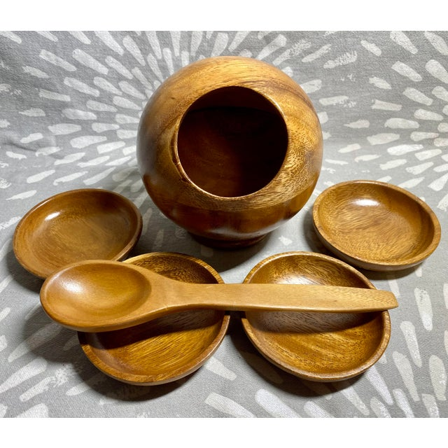 Brown 1960s Mid-Century Modern Philippine Myrtlewood Dip Set - 6 Pieces For Sale - Image 8 of 8