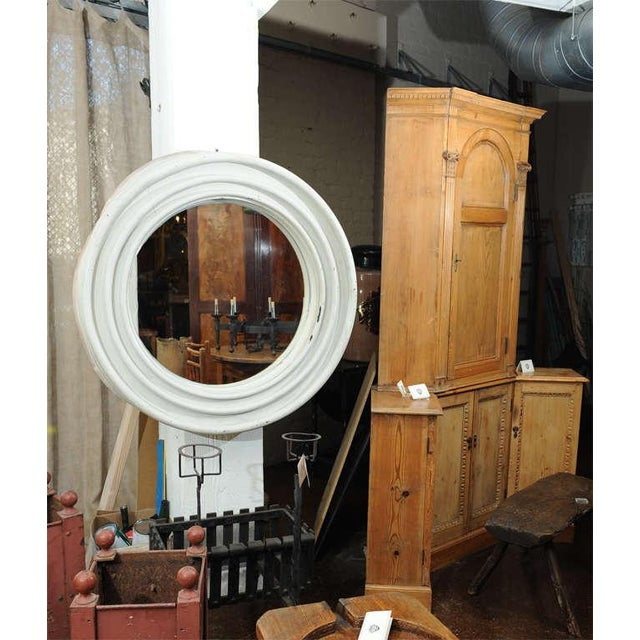 """Round painted Zinc Architectural Element with mirror. French, Circa 1870. 44"""" Diameter."""