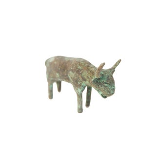 Vintage African Oxidized Copper Bull For Sale