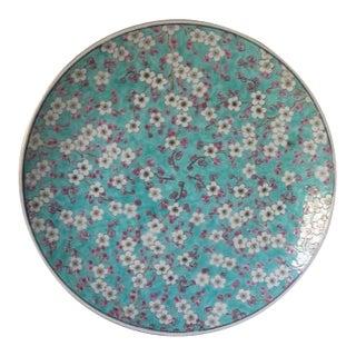 Vintage Japanese Porcelain Cherry Blossom Flower Design Ceramic Plate For Sale