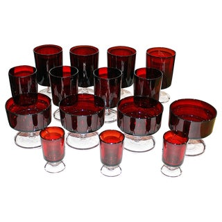 French Arcoroc Oxblood Stemware - Set of 15 For Sale