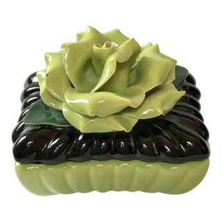 20th Century Art Deco Capodimonte Style Ceramic Rose Lidded Box For Sale
