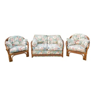 Vintage Bamboo / Rattan Floral Patio Room Set- 3 Pieces For Sale