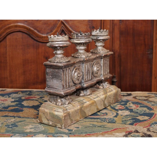 Mid 19th Century 19th Century Italian Silver Gilt Candelabras - Pair For Sale - Image 5 of 7