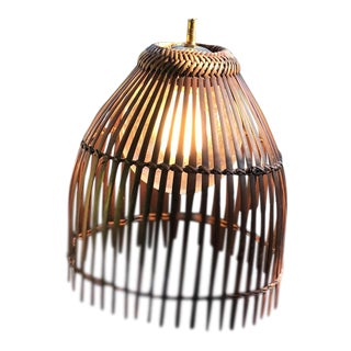 Boho Chic Rattan Bamboo Fish Trap Hanging Lights - a Pair For Sale
