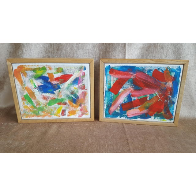 Set of 2 complementary pieces of original abstract artwork from the same artist Featuring colors of cherry red, royal...