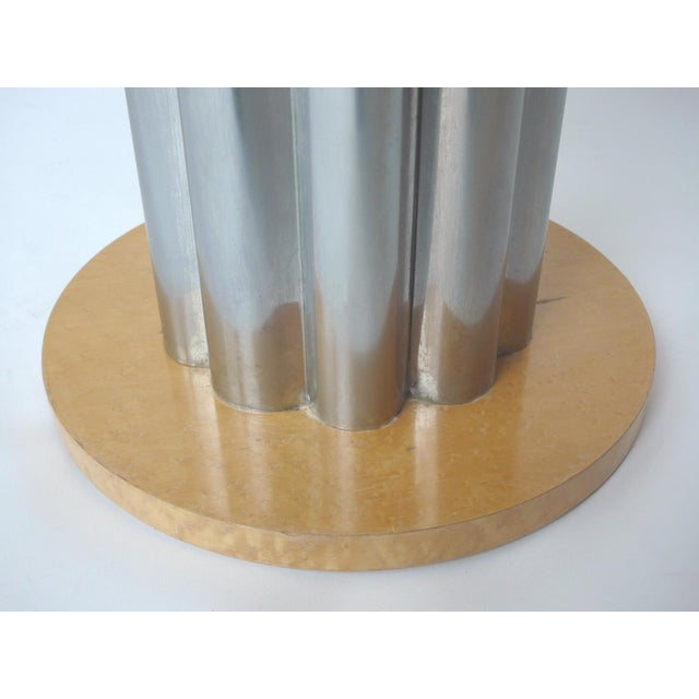 Deco Style Round Chrome & Sycamore Side Tables - A Pair - Image 9 of 10