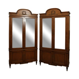 Maslow Freen Vintage French Louis XVI Vintage Pair Mirror Door Cabinets For Sale