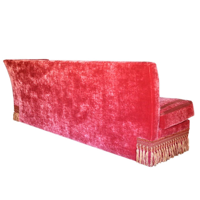 Textile French Left Arm Banquette Settee For Sale - Image 7 of 11