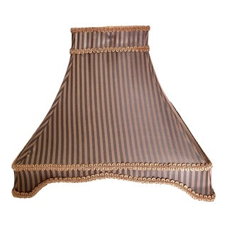 Square Structured Chocolate Brown Striped Dome Square Fabric Lamp Shade For Sale