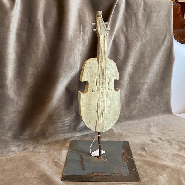 18th Century Ancient Wooden Guitar Fragment on an Iron Base For Sale - Image 10 of 10