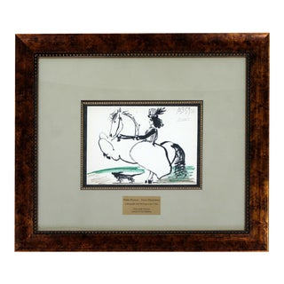 Mid Century Modern Framed Pablo Picasso Toros Illustration Lithograph 1950s Coa For Sale