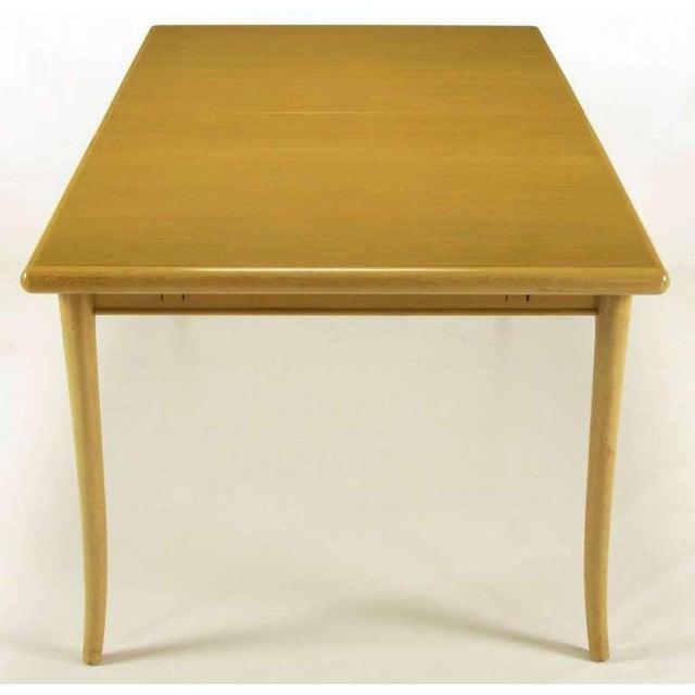 T.H.Robsjohn-Gibbings Bleached & Glazed Mahogany Saber Leg Dining Table - Image 3 of 8