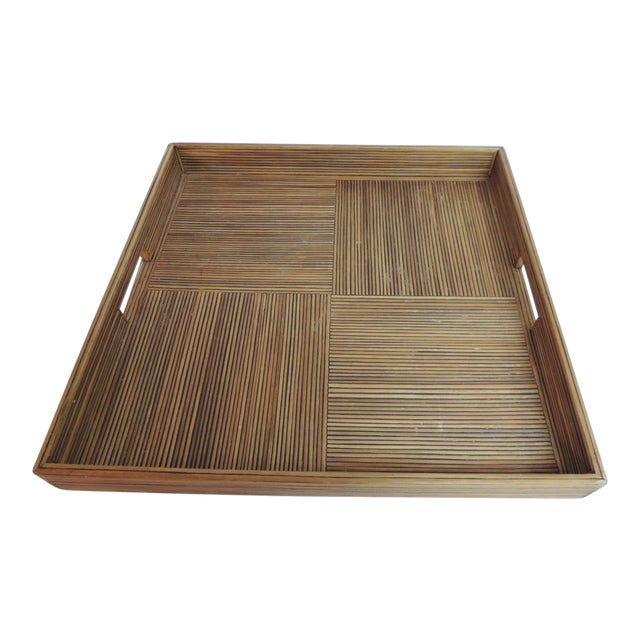 Large Square Bamboo Serving Tray - Image 1 of 6