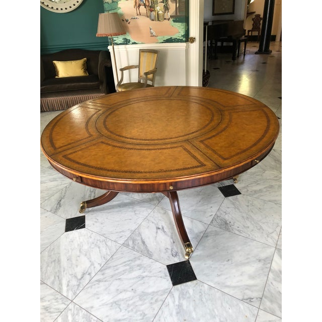 Hollywood Regency Leather Top Round Dining or Library Table For Sale - Image 3 of 5