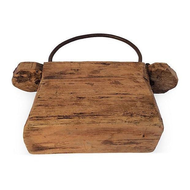 Rustic Chinese Carved Wood Box For Sale - Image 5 of 6