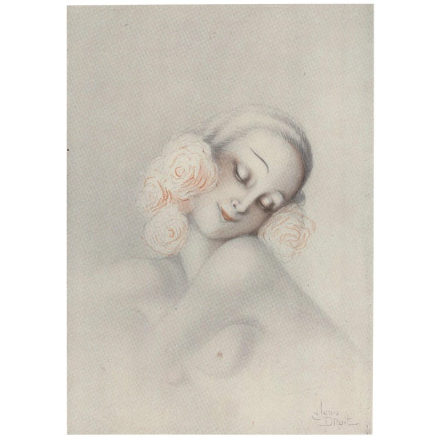Matted Art Deco Sensual, Romantic Print of Nude Woman For Sale