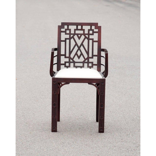 Gorgeous Chinese Chippendale Style Fretwork Dining Chairs - Set of 6 - Image 3 of 10