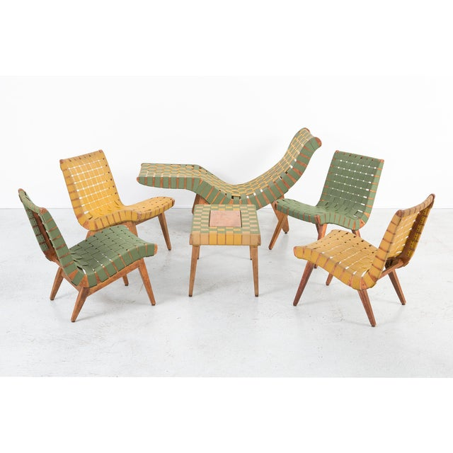 Jens Risom Style Furniture Set With Klaus Grabe Chaise For Sale - Image 13 of 13