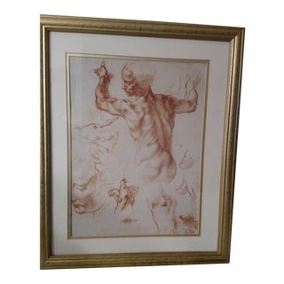 Framed Michelangelo Anatomy Sketch For Sale