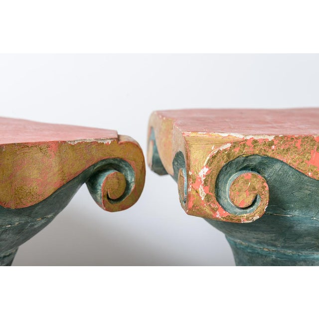 Polychromed Wood Roman Fluted Columns Pillars Pedestal Stools, A-Pair For Sale In West Palm - Image 6 of 12
