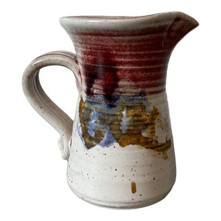 Vintage Hand-Thrown Artist Signed Studio Pottery Glazed Small Pitcher For Sale