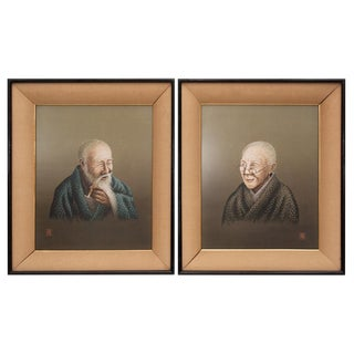 C. 1940s Japanese Silk Embroidery Portraits - Pair For Sale