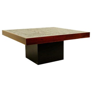 Square Coffee Table With Carved Top, Signed For Sale