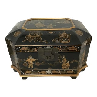 Mid 20th Century Asian Chinoiserie Black Lacquer Jewelry Box with Mirror For Sale