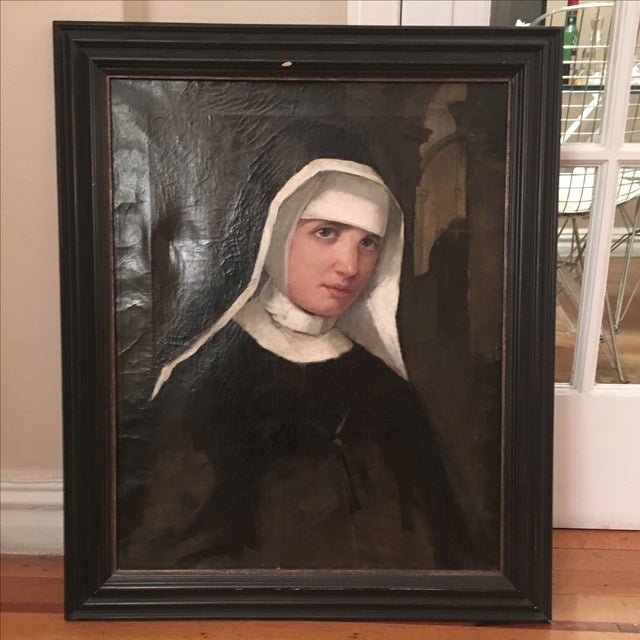 Antique Oil Painting of a Nun - Image 2 of 6