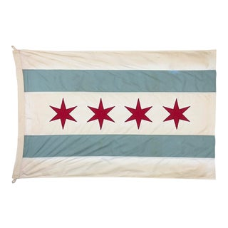 Tea-Stained Cotton Flag of Chicago For Sale