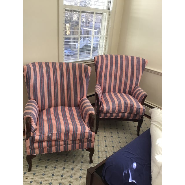 Antique Chairs With John Robshaw Vintage Stripe Cora Fabric - a Pair For Sale - Image 13 of 13