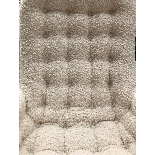 Cozy up in this unexpected twist on a Adrian Pearsell for Basset tufted lounge chair. Re-upholstered in Fabricut faux...