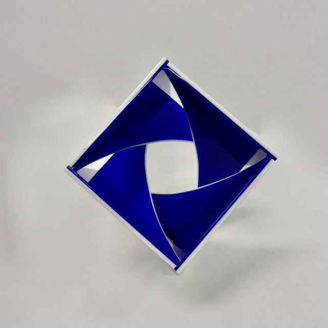Blue and White Desk Top Lucite Cube Geometric Sculpture For Sale - Image 9 of 10