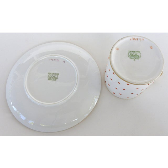 Mid 20th Century Shelley England Bone China Enameled and Gilt Demitasse Cups and Saucers - 10 Pc. Set For Sale - Image 5 of 8